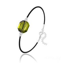 Bracelet Graphic en Argent et Cristal Vert Olivine