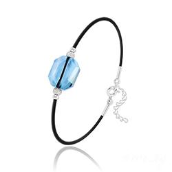 Bracelet Graphic en Argent et Cristal Bleu