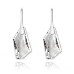 Boucles d'Oreilles De-Art 24mm en Argent et Cristal Blanc