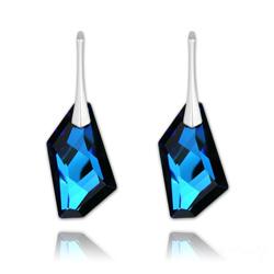 Boucles d'Oreilles De-Art 24mm en Argent et Cristal Bleu Bermude