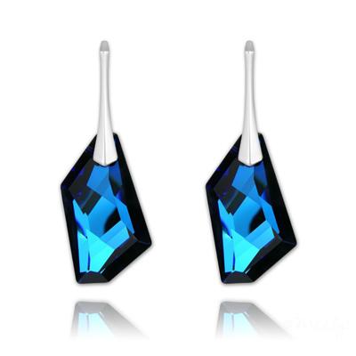 Boucles d'Oreilles en Cristal et Argent Boucles d'Oreilles De-Art 24mm en Argent et Cristal Bleu Bermude