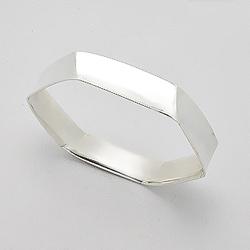 Bracelet Rigide en Argent Hexagonal