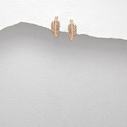 Boucles d'Oreilles Petite Feuille en Argent Plaqué Or Rose