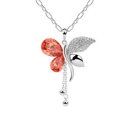 Sautoir Papillon Plaqué Or Blanc et Cristal Rouge